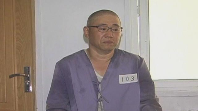 Kenneth Bae of Lynnwood, Wash., appears in an interview from a prison in North Korea in July 2013.