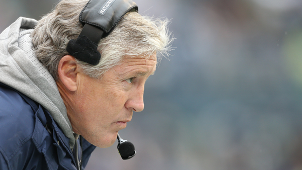 Head coach Pete Carroll of the Seattle Seahawks looks on against the New York Jets at CenturyLink Field on November 11, 2012 in Seattle, Washington.