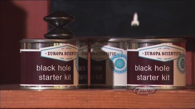 Black hole starter kits line the shelves of Greenwood Space Travel Supply Company in Seattle.