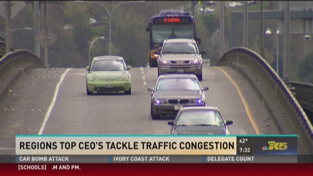 Traffic merges onto Interstate 5 in Seattle