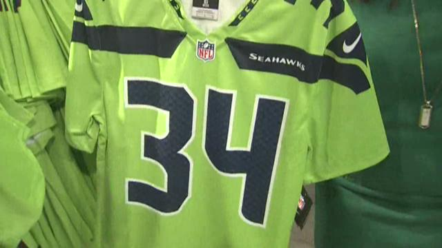 The Seahawks' new neon green jerseys hit stores