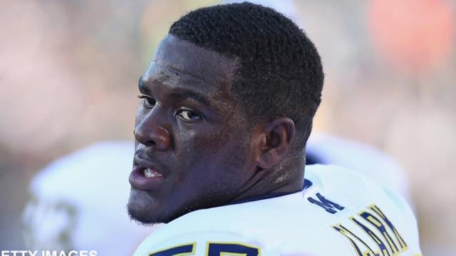 Frank Clark #57 of the Michigan Wolverines participates