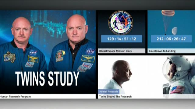 Astronaut twins conducting aging-in-space experiment